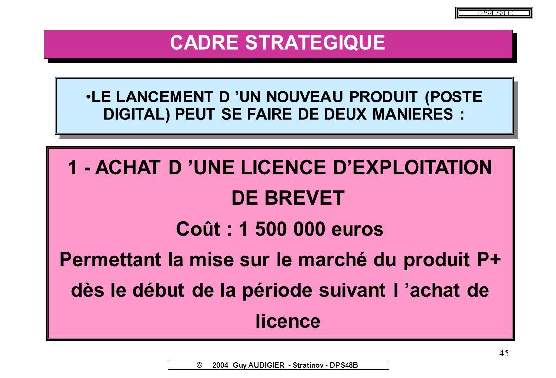 1 - ACHAT D 'UNE LICENCE D'EXPLOITATION DE BREVET