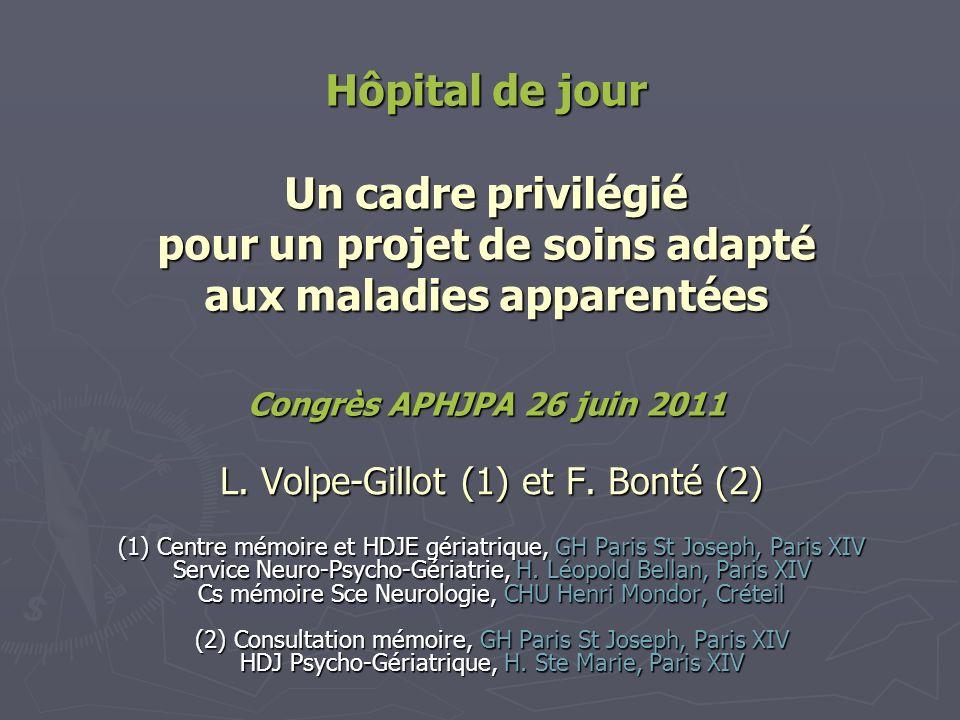 Hôpital de jour Un cadre privilégié pour un projet de soins adapté aux maladies apparentées Congrès APHJPA 26 juin 2011