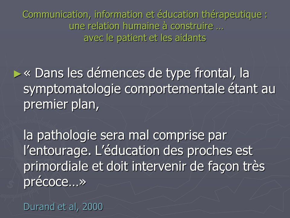 Communication, information et éducation thérapeutique : une relation humaine à construire … avec le patient et les aidants