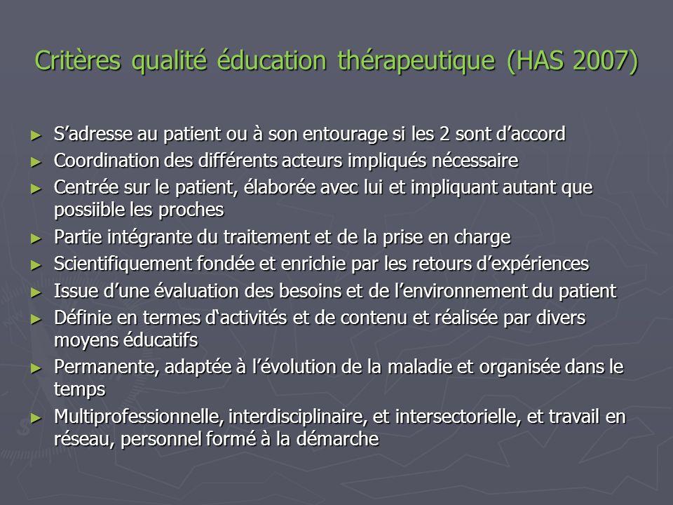 Critères qualité éducation thérapeutique (HAS 2007)
