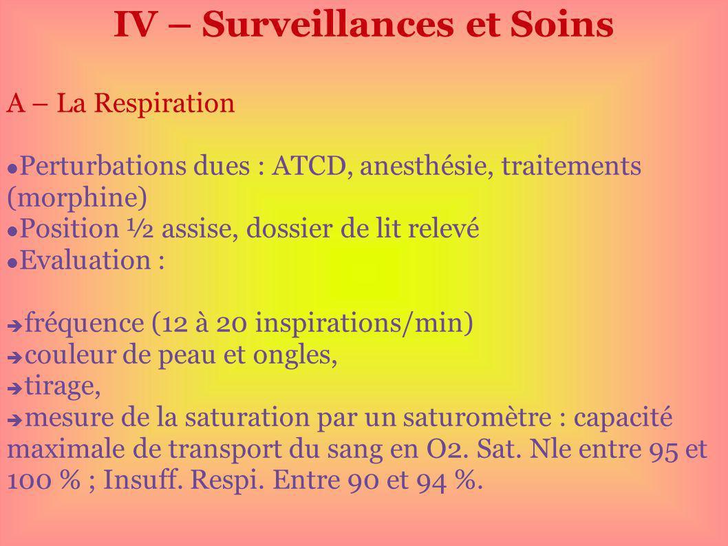IV – Surveillances et Soins