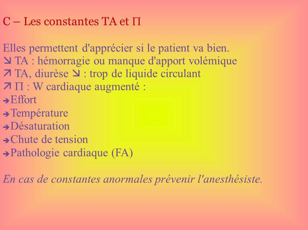 C – Les constantes TA et 