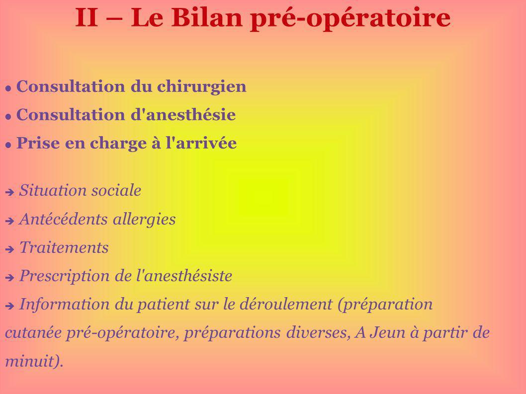 II – Le Bilan pré-opératoire