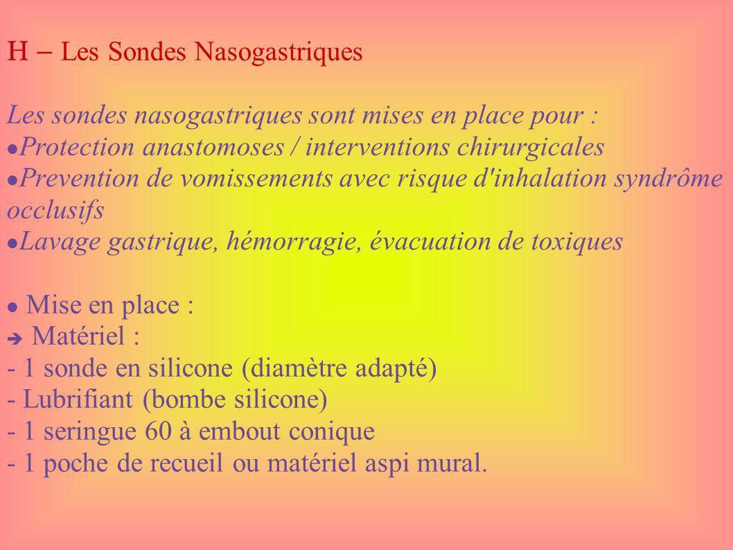 H – Les Sondes Nasogastriques