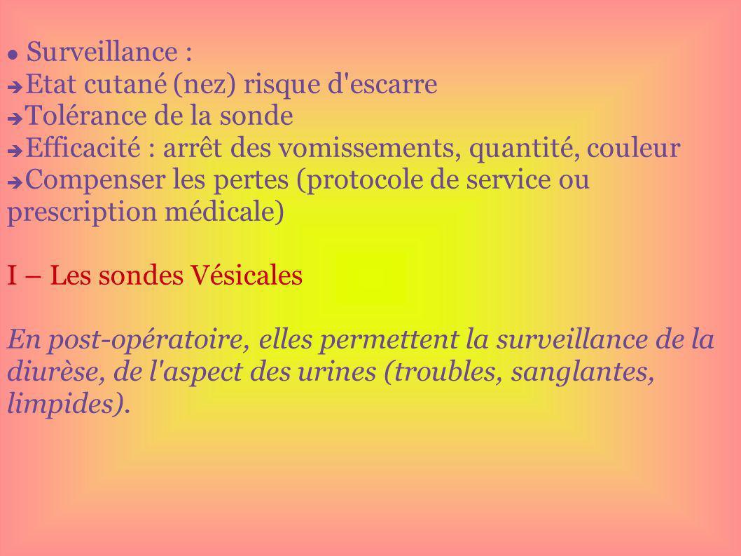 Surveillance : Etat cutané (nez) risque d escarre. Tolérance de la sonde. Efficacité : arrêt des vomissements, quantité, couleur.