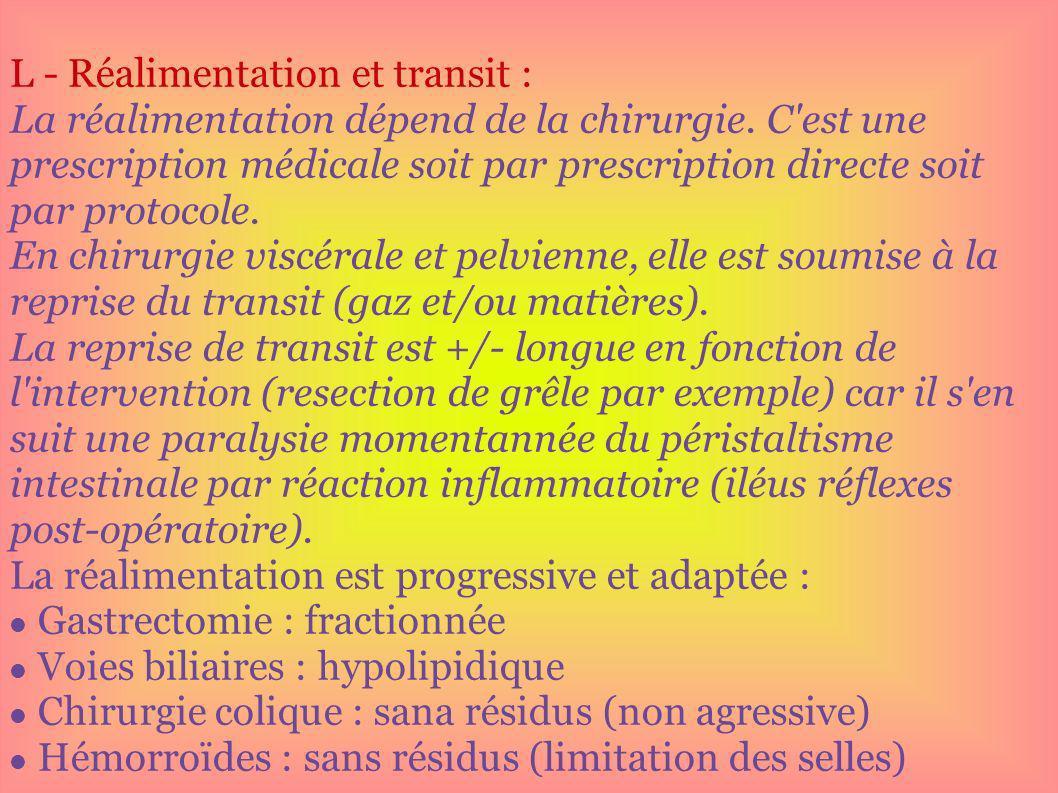 L - Réalimentation et transit :