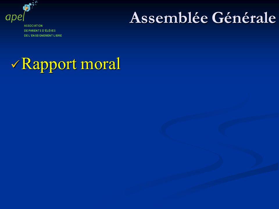Assemblée Générale Rapport moral ASSOCIATION DE PARENTS D'ÉLÈVES