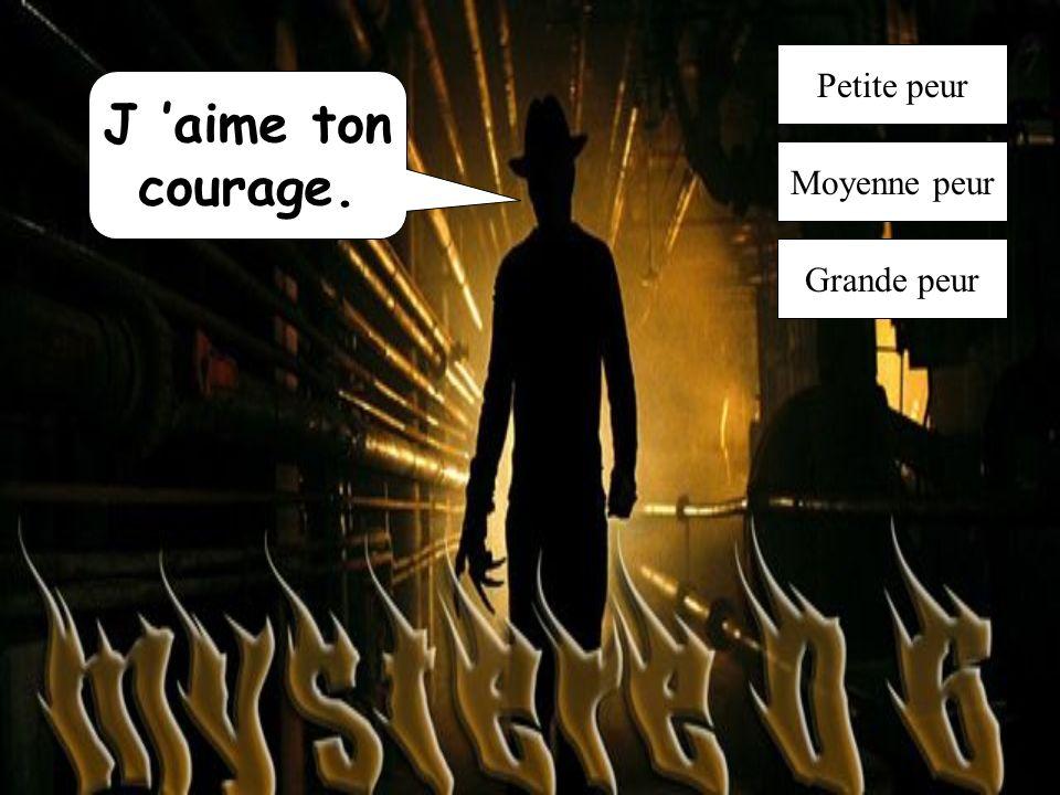 Petite peur J 'aime ton courage. Moyenne peur Grande peur