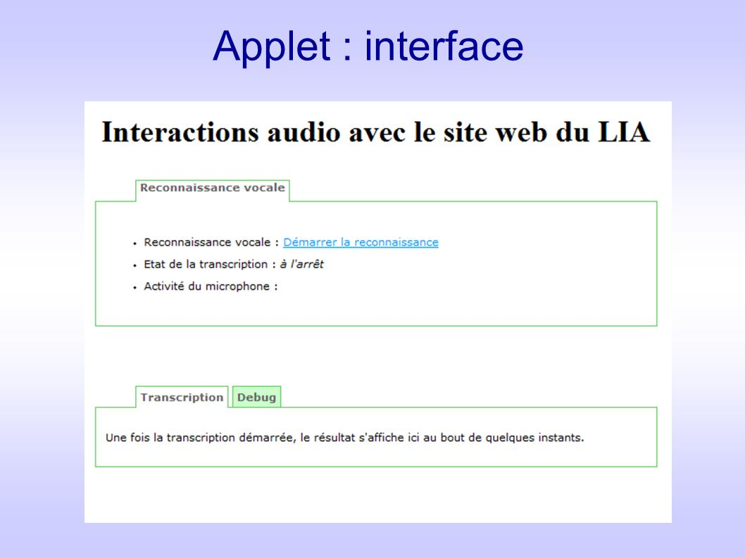 Applet : interface