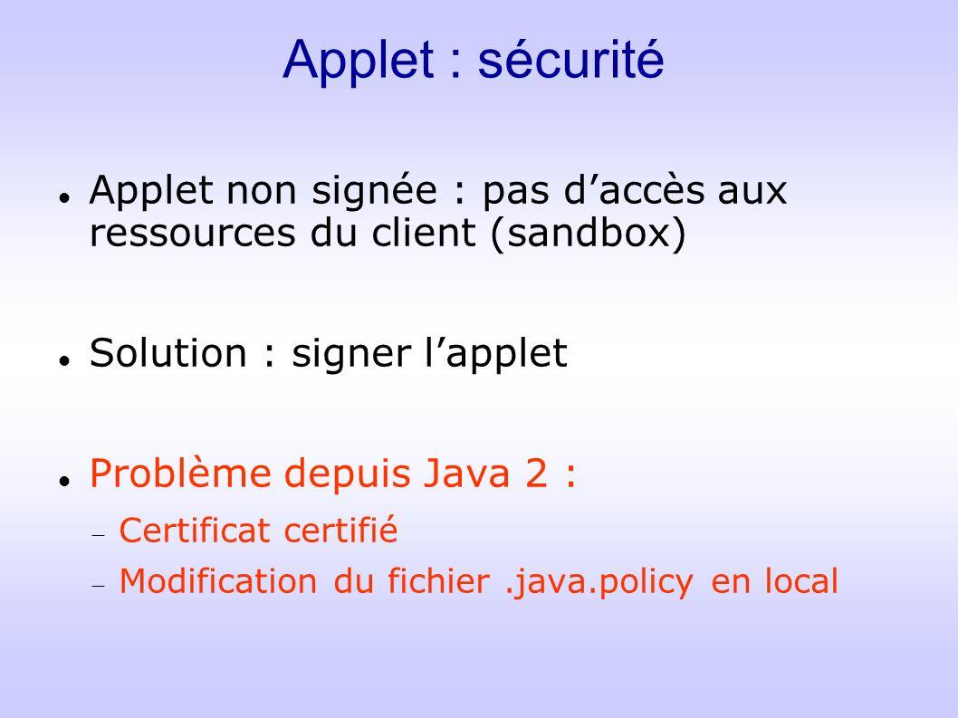 Applet : sécurité Applet non signée : pas d'accès aux ressources du client (sandbox) Solution : signer l'applet.