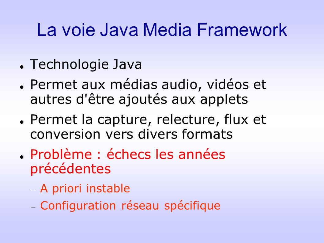 La voie Java Media Framework