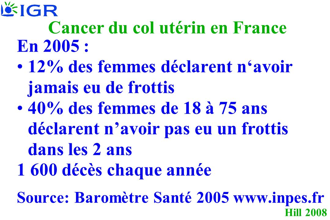 Cancer du col utérin en France