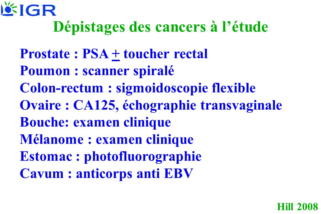 Dépistages des cancers à l'étude