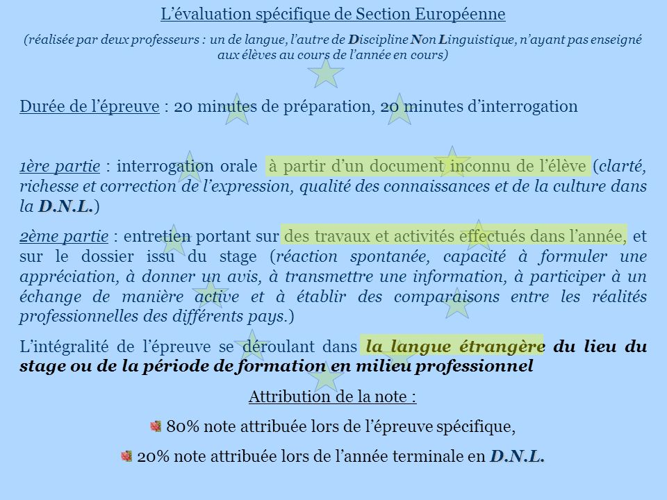 L'évaluation spécifique de Section Européenne