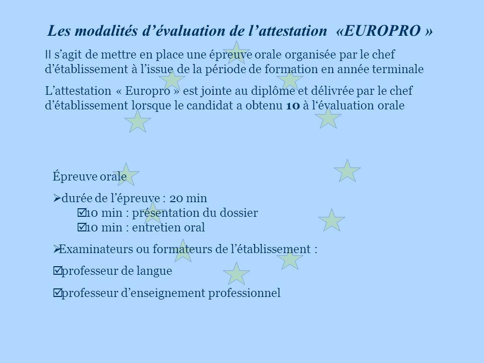 Les modalités d'évaluation de l'attestation «EUROPRO »