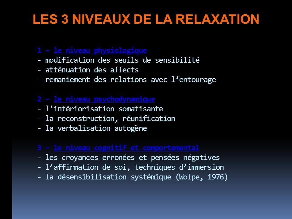 LES 3 NIVEAUX DE LA RELAXATION