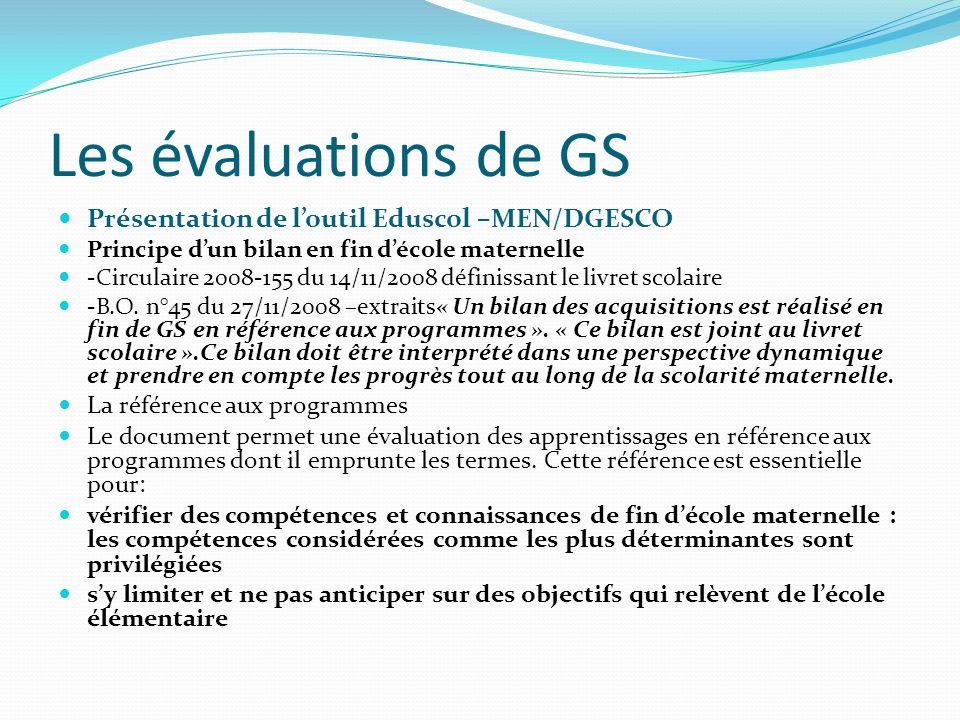 Les évaluations de GS Présentation de l'outil Eduscol –MEN/DGESCO