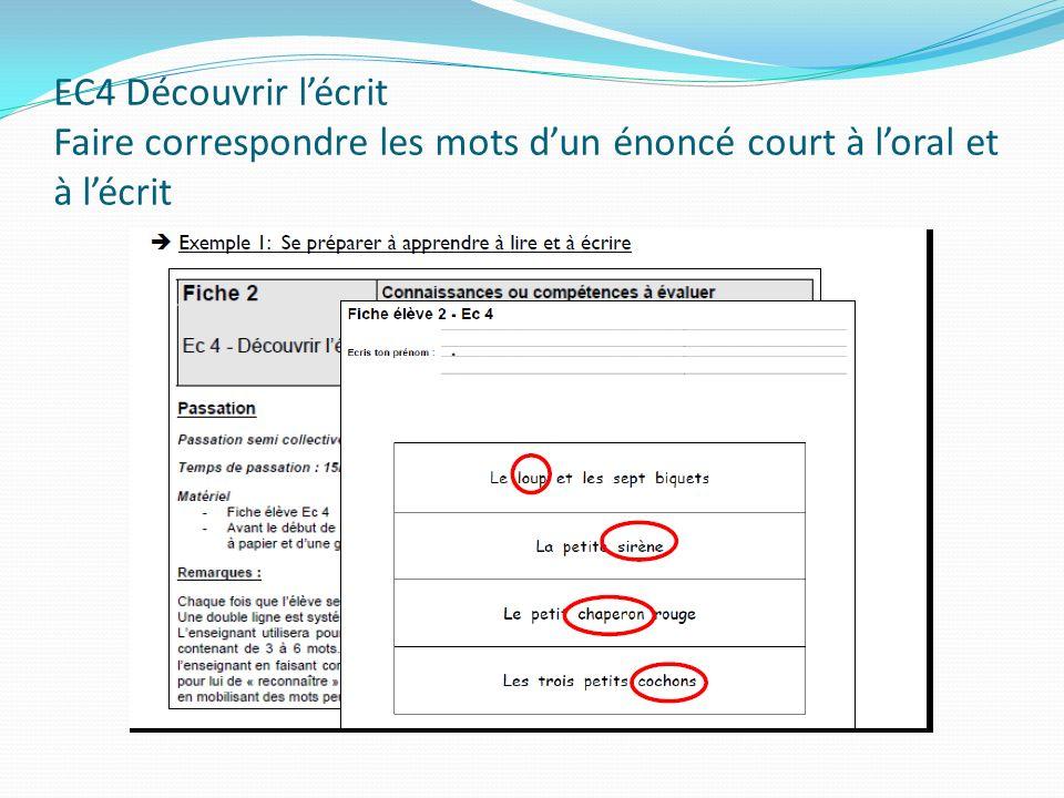 EC4 Découvrir l'écrit Faire correspondre les mots d'un énoncé court à l'oral et à l'écrit
