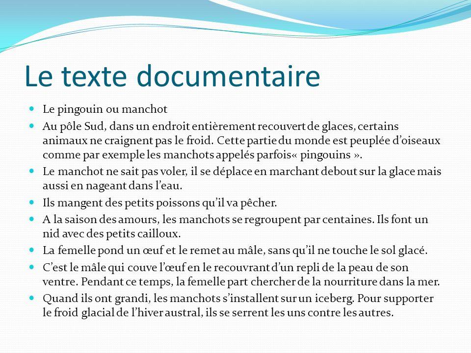 Le texte documentaire Le pingouin ou manchot