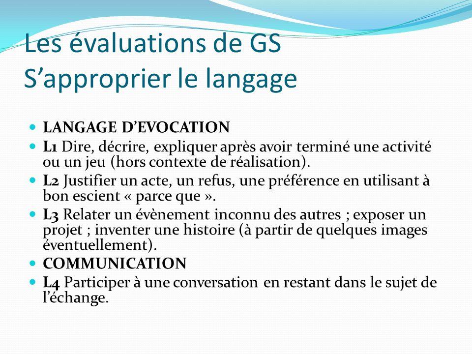 Les évaluations de GS S'approprier le langage