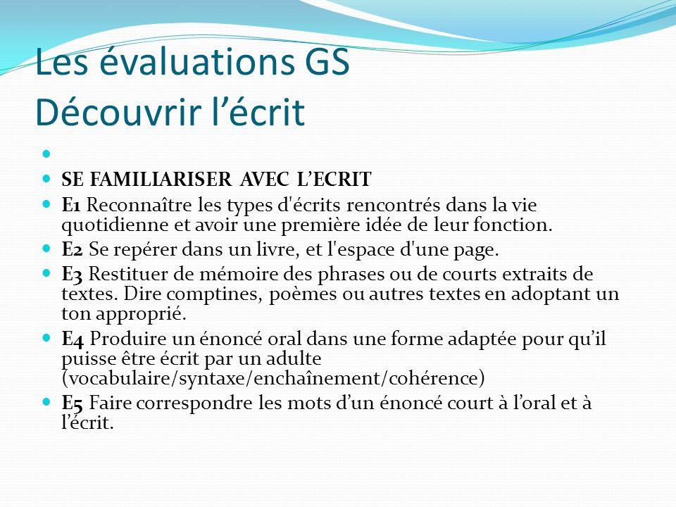 Les évaluations GS Découvrir l'écrit