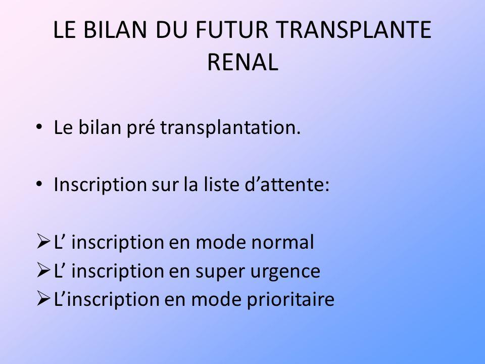 LE BILAN DU FUTUR TRANSPLANTE RENAL