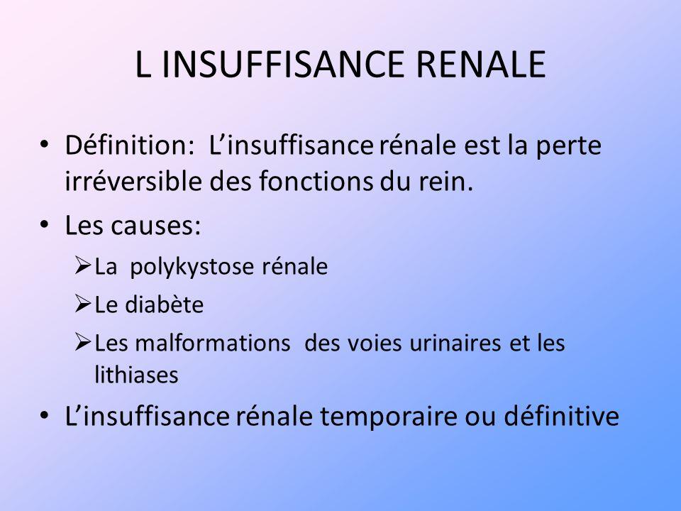 L INSUFFISANCE RENALE Définition: L'insuffisance rénale est la perte irréversible des fonctions du rein.