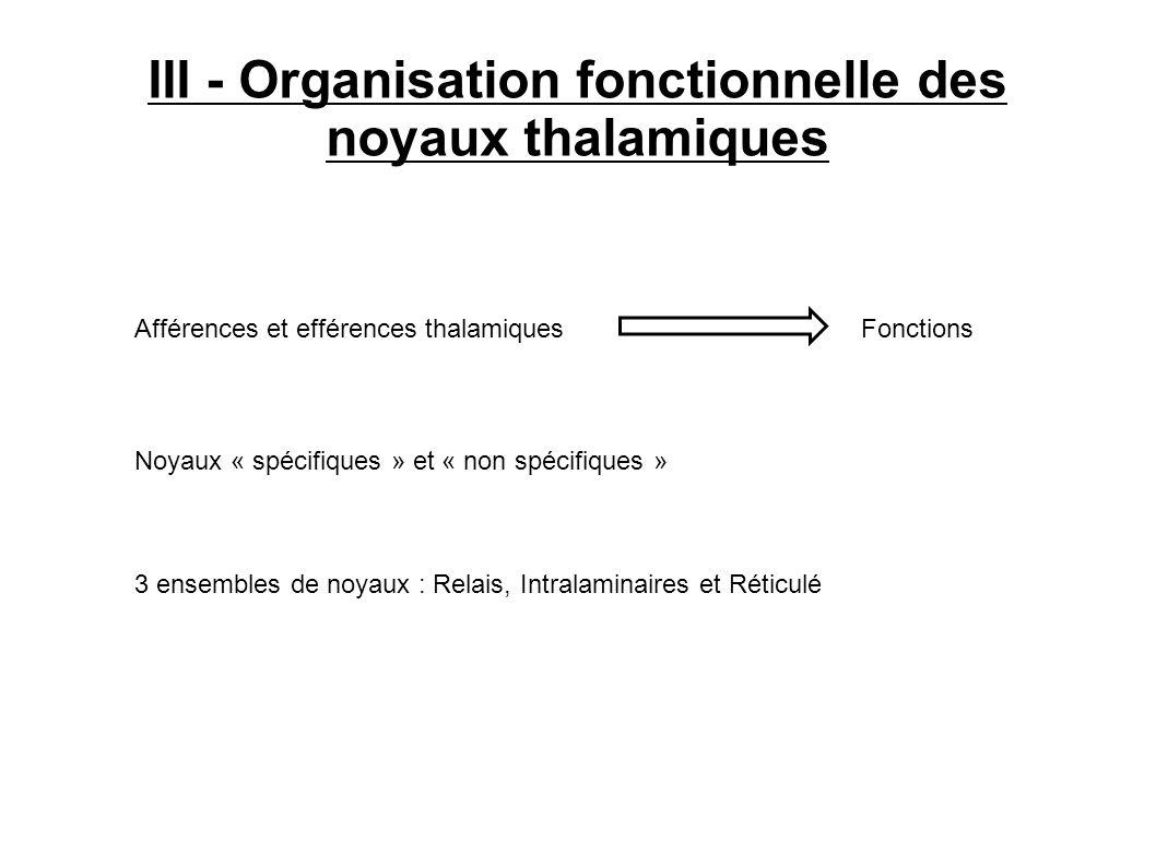 III - Organisation fonctionnelle des noyaux thalamiques