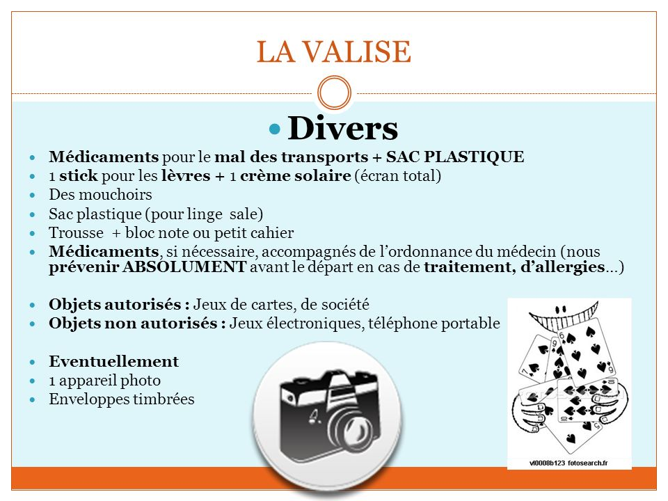 LA VALISE Divers. Médicaments pour le mal des transports + SAC PLASTIQUE. 1 stick pour les lèvres + 1 crème solaire (écran total)