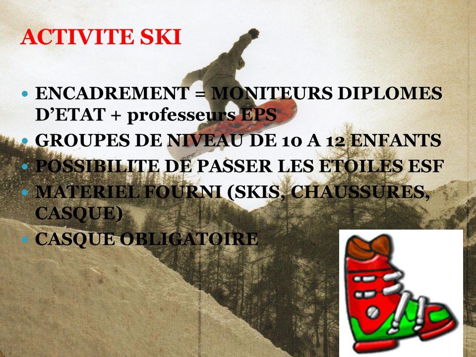 ACTIVITE SKI ENCADREMENT = MONITEURS DIPLOMES D'ETAT + professeurs EPS
