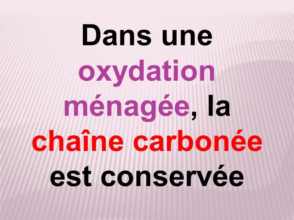 Dans une oxydation ménagée, la chaîne carbonée est conservée
