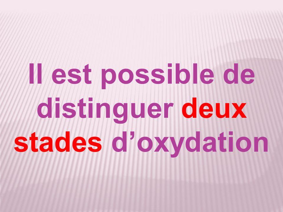 Il est possible de distinguer deux stades d'oxydation