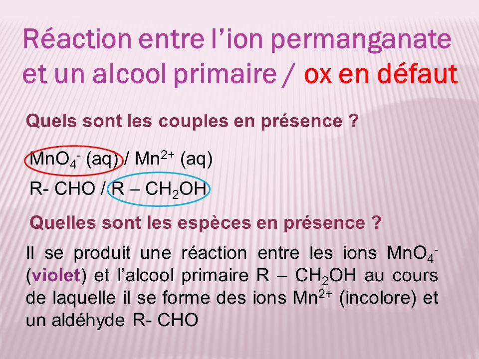 Réaction entre l'ion permanganate et un alcool primaire / ox en défaut
