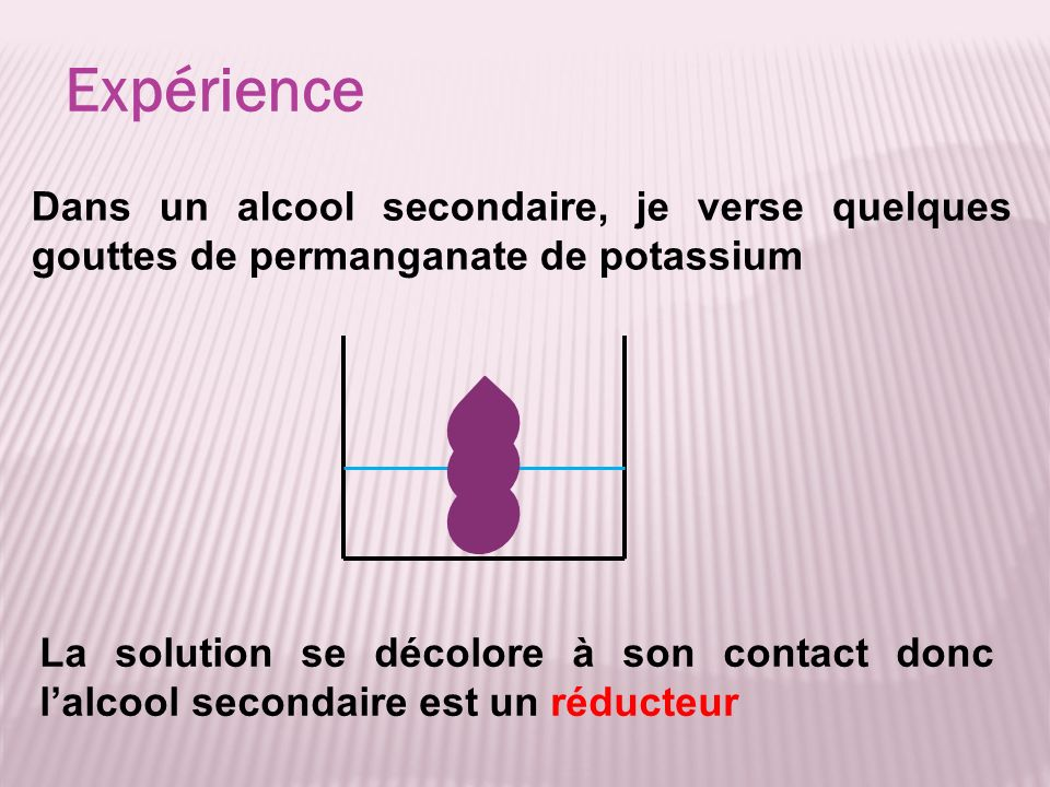Expérience Dans un alcool secondaire, je verse quelques gouttes de permanganate de potassium.