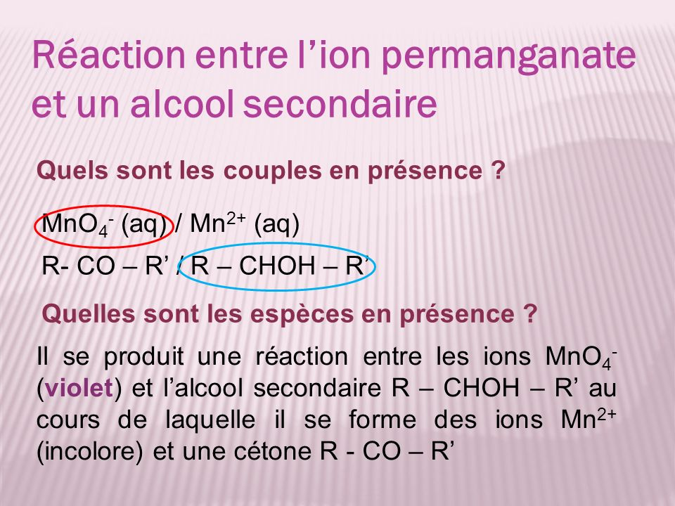 Réaction entre l'ion permanganate et un alcool secondaire