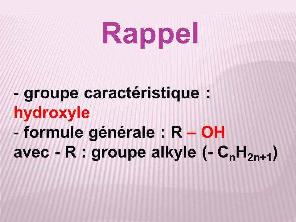 Rappel groupe caractéristique : hydroxyle formule générale : R – OH