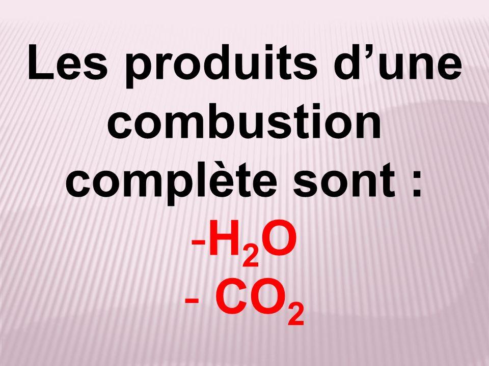 Les produits d'une combustion complète sont :