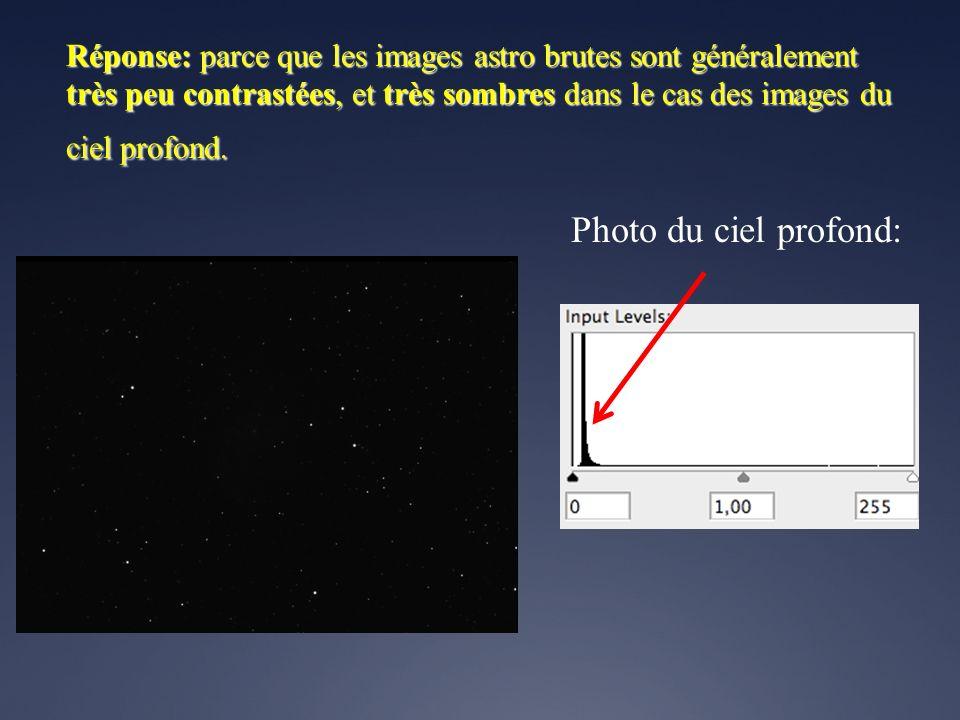 Réponse: parce que les images astro brutes sont généralement très peu contrastées, et très sombres dans le cas des images du ciel profond.