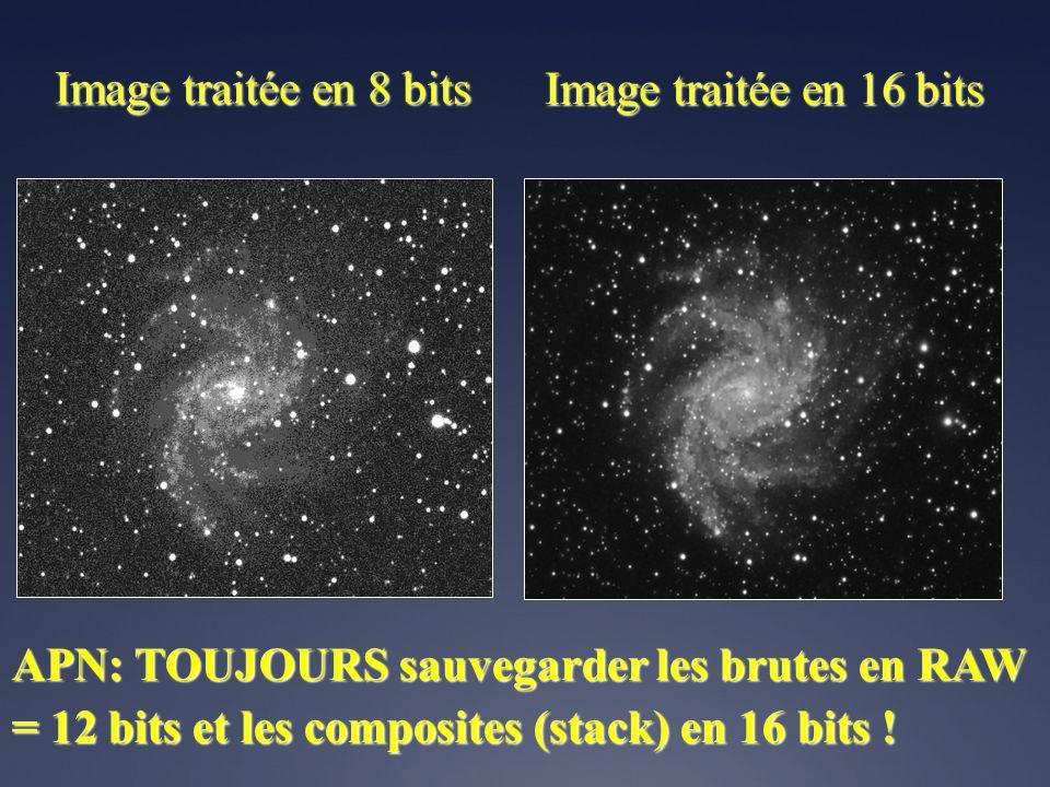 Image traitée en 8 bits Image traitée en 16 bits.