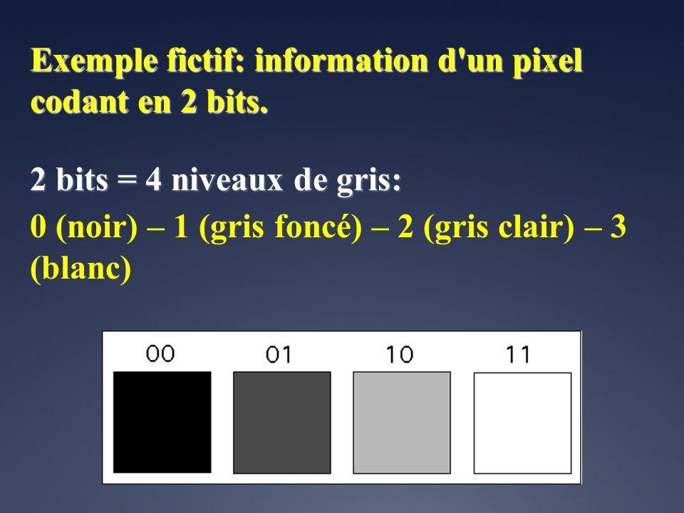 Exemple fictif: information d un pixel codant en 2 bits.