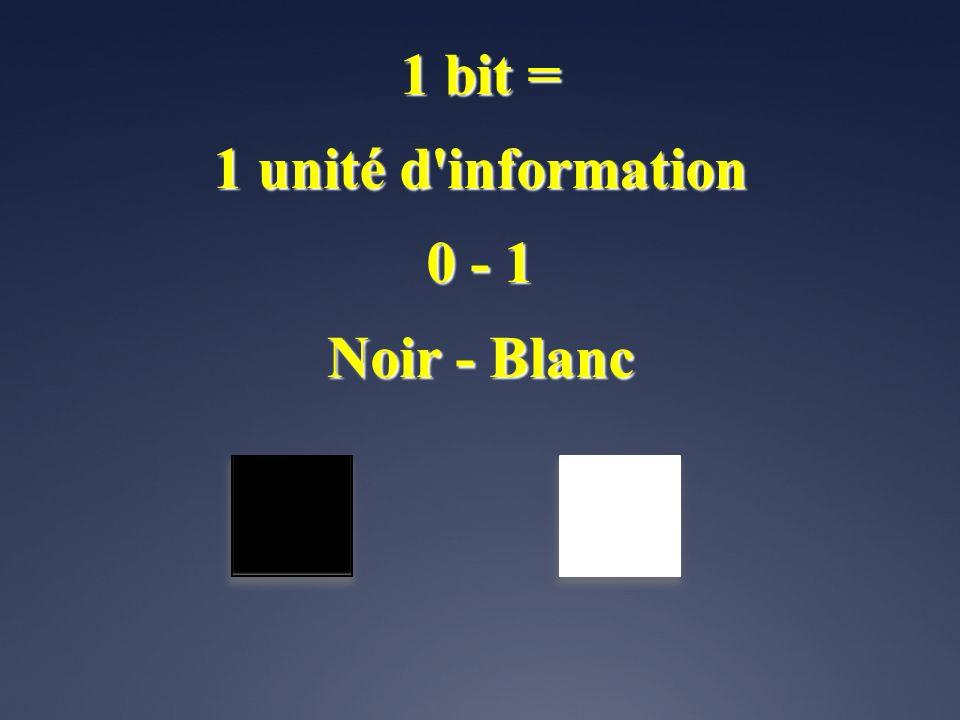 1 bit = 1 unité d information 0 - 1 Noir - Blanc