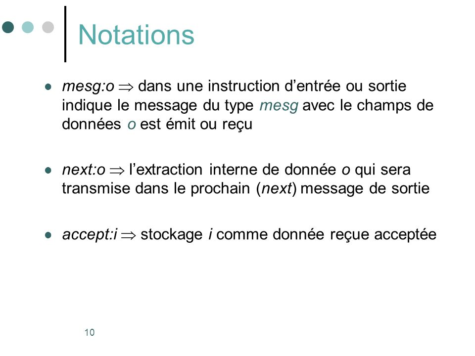 Notations mesg:o  dans une instruction d'entrée ou sortie indique le message du type mesg avec le champs de données o est émit ou reçu.