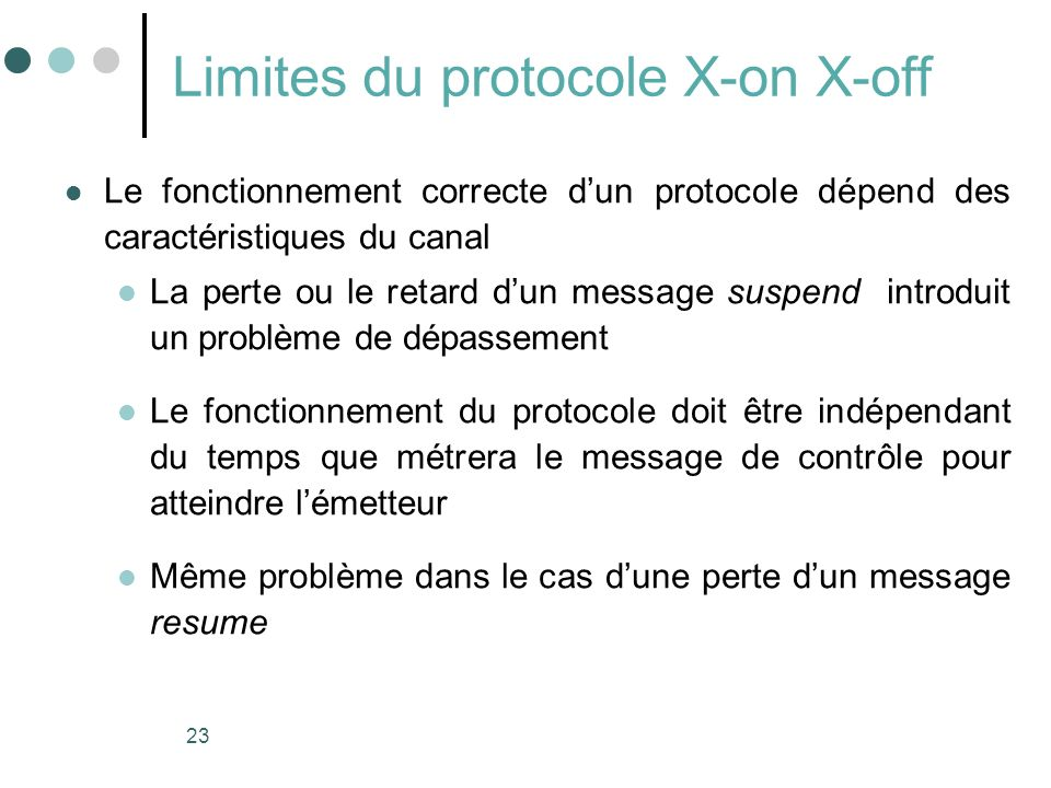 Limites du protocole X-on X-off
