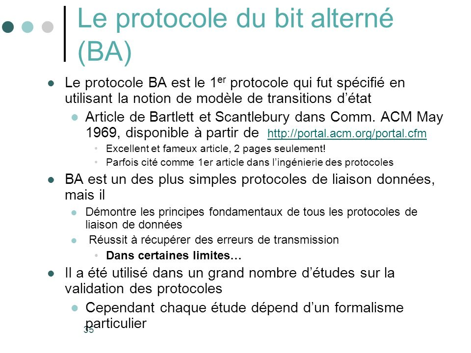Le protocole du bit alterné (BA)