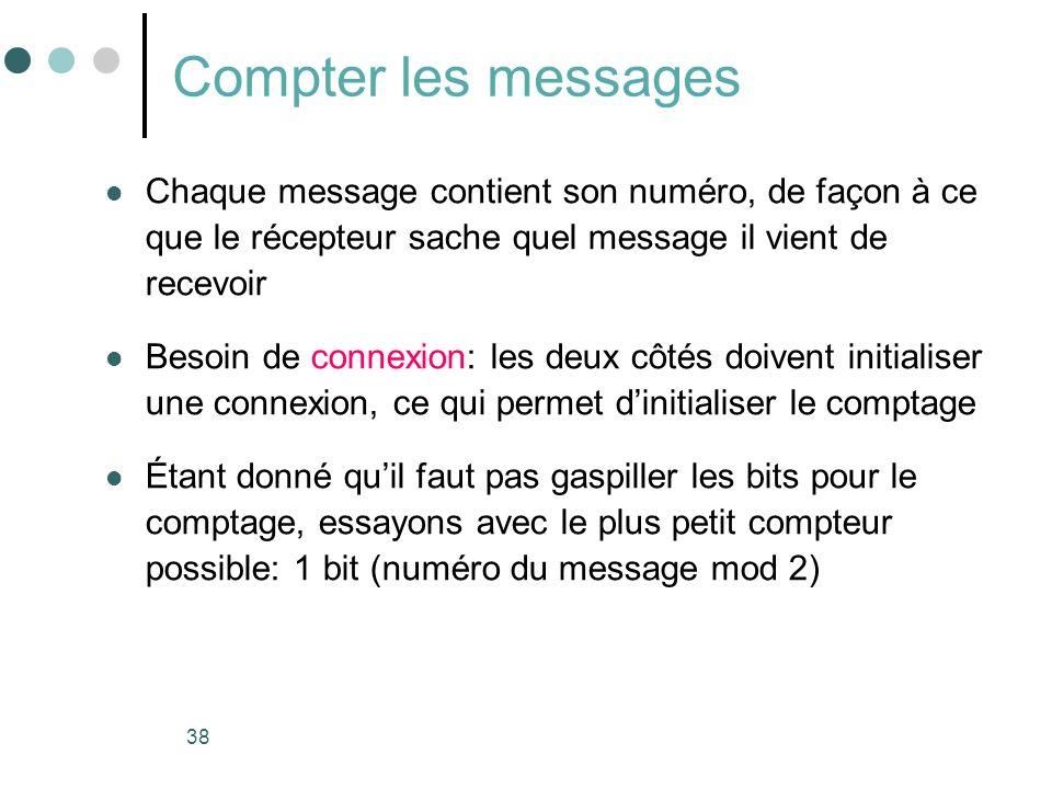 Compter les messages Chaque message contient son numéro, de façon à ce que le récepteur sache quel message il vient de recevoir.