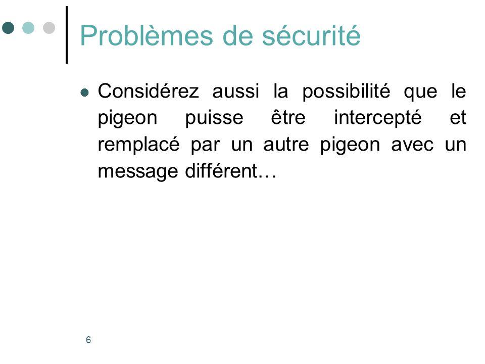 Problèmes de sécurité Considérez aussi la possibilité que le pigeon puisse être intercepté et remplacé par un autre pigeon avec un message différent…