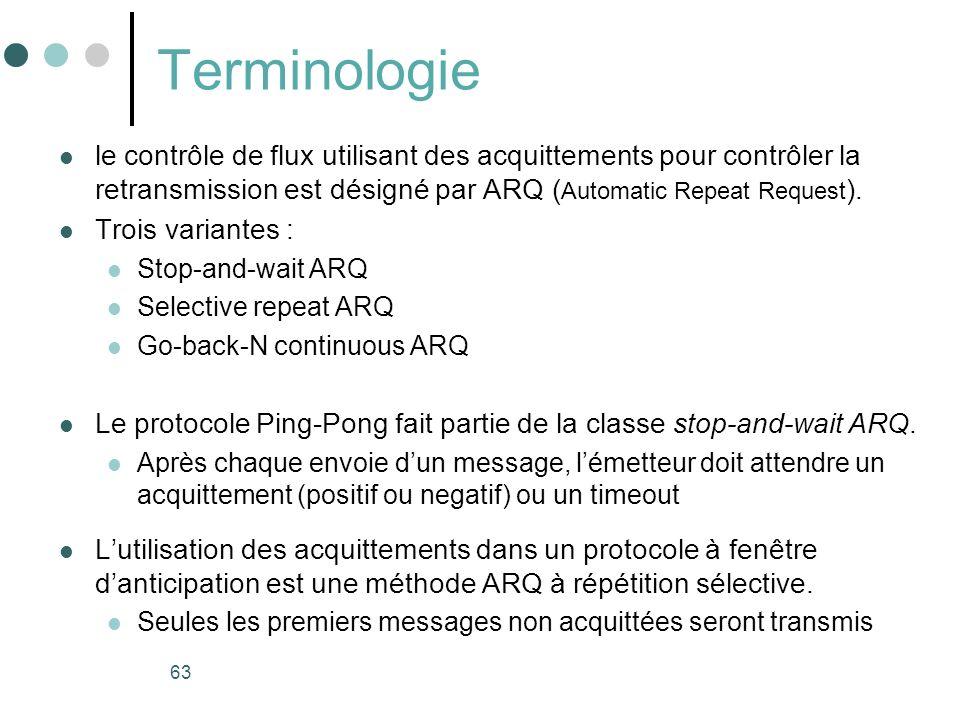Terminologie le contrôle de flux utilisant des acquittements pour contrôler la retransmission est désigné par ARQ (Automatic Repeat Request).