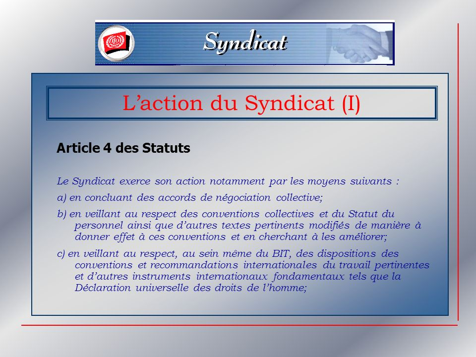 L'action du Syndicat (I)
