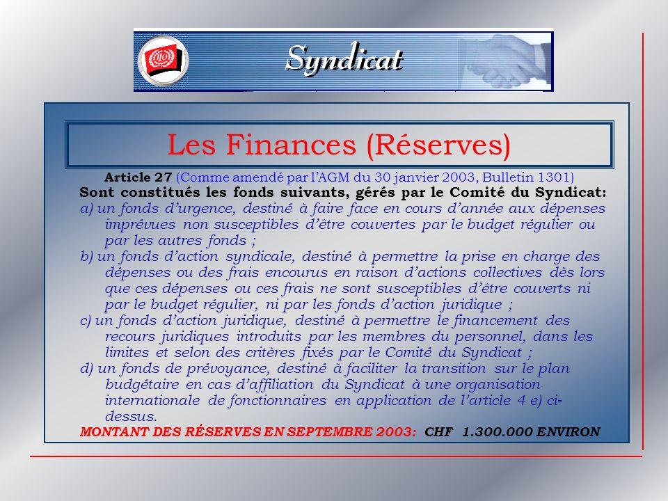 Les Finances (Réserves)