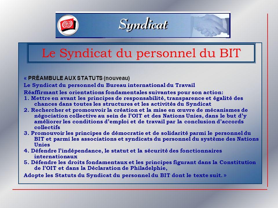 Le Syndicat du personnel du BIT